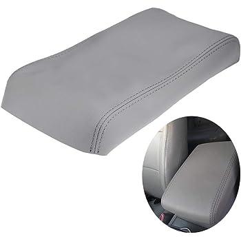 X AUTOHAUX Microfiber Leather Center Console Lid Armrest Cover Skin Beige for 2008-2013 Toyota Highlander