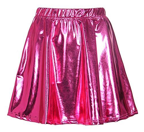 Smile Fish Damen Metallischer Faltenrock Mini Ballkleid Abendkleid 50er Vintage Karneval Partykleid 80er Jahre Party Faltenrock Skater R?cke(Rose Red-L)