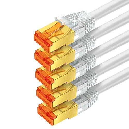 mumbi LAN Kabel 0,25m CAT 6 Netzwerkkabel geschirmtes F/UTP CAT6 Ethernet Kabel Patchkabel RJ45 0,25Meter, weiss (5er Set)