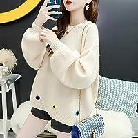 秋の女性Sセーターファッション韓国首の首の長袖ニットプルオーバーカジュアル緩いかわいい厚いセーター女性 レディースセーター LIYDENG (Color : 03, Size : One Size)