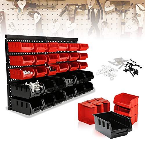 wolketon Wandregal mit Stapelboxen 32 tlg Box Sichtlagerkästen Schüttenregal Erweiterbar Werkstattregal starke Wandplatten Lagerregal