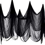 Halloween Creepy Black Cloth, 85' x 275'Spooky Halloween Decorations Outdoor Indoor, Ideal for Haunted House, Patio, Garden, Indoor Wall Windows,Doorway, Halloween Outdoor Decorations
