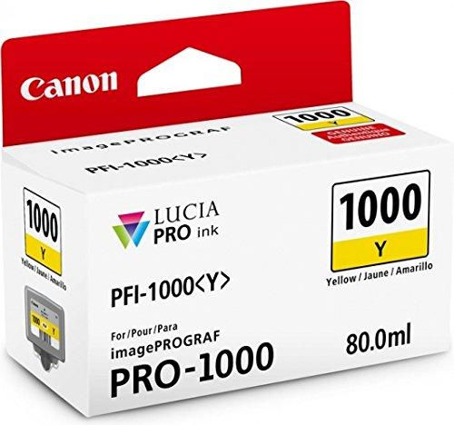 Original Canon Cartucho de tinta pfi1000PFI 1000PFI de 1000para Canon Image Prograf Pro 1000–Photo Black–Cantidad de relleno: aprox. 80ml, color (04) 1x Tintenpatrone - Yellow