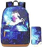 Mochila Escolar para Niños - Impermeable Mochila Escolar Mochilas de Unicornio Mochila de Viaje con lápiz Bolsa y Puerto de Carga USB para Escuela, Libros, Viajes, Senderismo, Camping