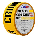 """Sunnybess 3"""" Barricade Safety Tape """"CAUTION/CRIME SCENE DO NOT ENTER"""" Yellow Warning Tape with Black Print"""