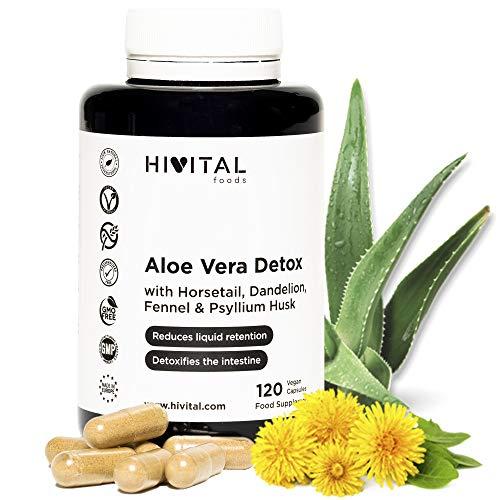 Aloe Vera Detox | 120 cápsulas para 4 meses | Con Cola de Caballo, Diente de León, Psyllium, e Hinojo | Depurativo, diurético y laxante natural que elimina toxinas y regula el tránsito intestinal