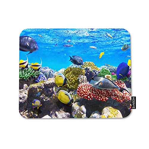 HOSNYE Underwater World Mouse Pad Square Anti-Slip Rubber Mousepad Coral and Fish in The Red Sea Edges for Gaming Office Laptop Computer PC Men Women Kids