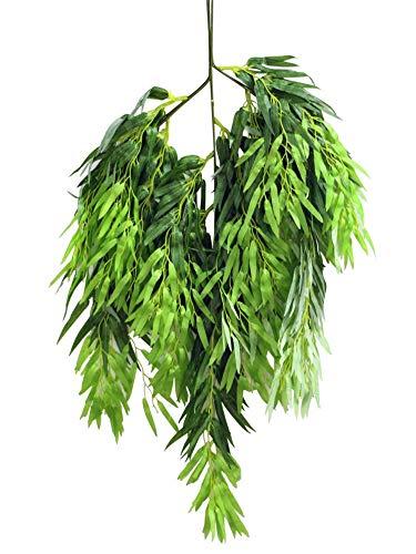 ZJJZH Kunstbloemen Simulatie groene plant wilg takken wilg knoppen spruiten sneeuw gedroogde bloemen wijnstokken rotan woonkamer landschapsarchitectuur inrichting inrichting huilen wilg