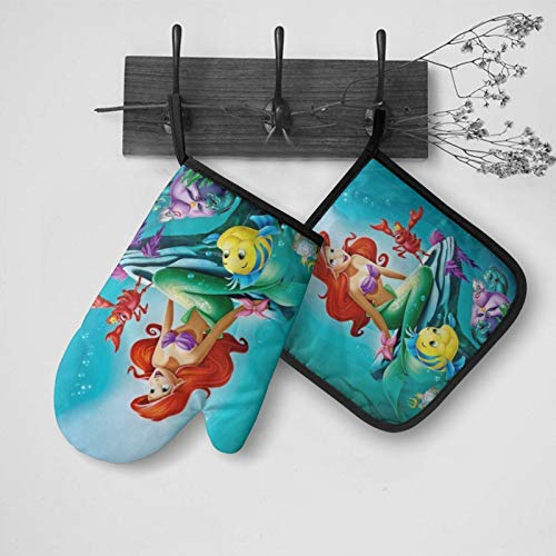 RGFK Underwater Mermaid Princess Design Resistant Hot Oven Mitts and Pot Holders Sets,Kitchen Gloves for Women Men (2-Piece)
