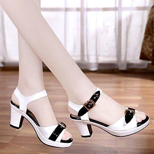 YMFIE Mesdames été Ouvert Orteil Confort décontracté Cuir Haut Talon Poisson Bouche Sandales de Travail Chaussures de Plein air Chaussures