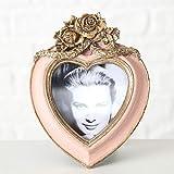 Home Collection - Cornice Romantica Anticata con Rose e Cuore, Altezza 15 cm, Colore: Rosa/Oro