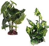 Planta artificial para acuario (24-25 cm de alto), hojas verdes de aspecto real para acuario, plantas de plástico, plantas acuáticas para acuarios, tanques de peces