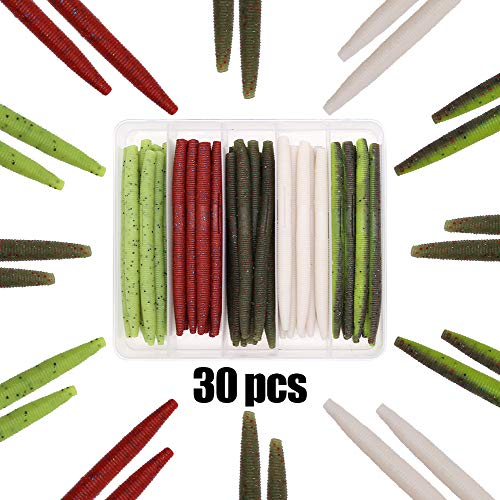 XFISHMAN Senko Worms Bass Fishing Lure Kit 30 pk Wacky Rig Worms Soft Plastic Stick Baits 4' 5' inch (Senko Worms (4in, 5 Colors,30pcs))
