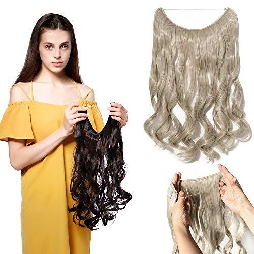 Silk-co Extension Fil Invisible Cheveux Synthétique Ondulé Extension a Fil Elastique Rajout Cheveux Ombre Wire In Hair Extension 20 Pouces, Blond Cendré & Gris Argenté