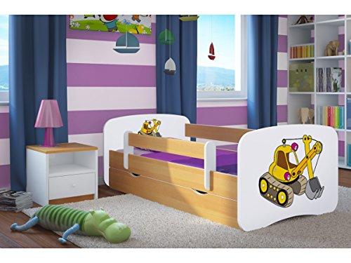 Kinderbett Jugendbett 70x140 80x160 80x180 Buche mit Rausfallschutz Matratze Schublade und Lattenrost Kinderbetten für Mädchen und Junge Bagger 180 cm