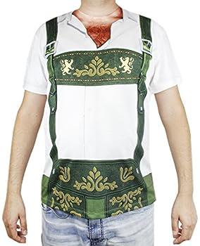 Faux Real Oktoberfest T-Shirt for Men - Lederhosen Hairy Chest Design - Size X-Large Green
