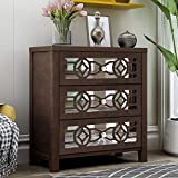 Nightstand Wood Storage Cabinet Storage Unit with 3 Drawers and Decorative Mirror (Espresso)