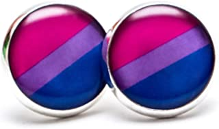 Bi Pride Flag Symbol Earrings - Bisexual Flag Stud Earrings (Pair). LGBT Stud Earrings. GLBT Jewelry. Great for the Gay parade or as a Gay Gift.