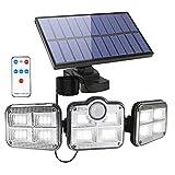Fousômo Luce Esterna Solare Muro Applique Lampade con Sensore Movimento 3 Teste 122 LEDs Fari LED da Esterno IP65 Impermeabile Lampade Solari Esterne con Telecomando Illuminazione per Cortile