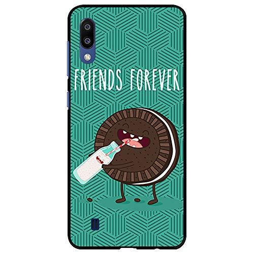 BJJ SHOP Schwarz Hülle für [ Samsung Galaxy M10 / Samsung Galaxy A10 ], Klar Flexible Silikonhülle, Design: Friends Forever, Kekse Trinken Milch
