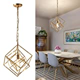 Square Chandelier Golden Industrial Pendant Light Fixture Rustic 1 Light Vintage Cage Hanging Ceiling Fixture with Adjustable Chain for Kitchen Island, Dining Room, Farmhouse, Foyer, UL Listed