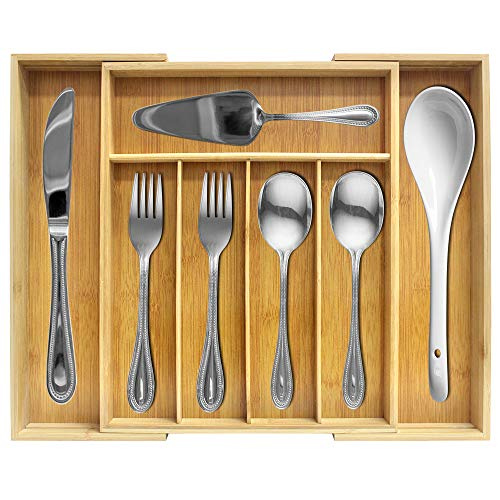 G-LEAF Expandable Cutlery Tray Utensil Flatware Silverware Drawer Organizer Tray Drawer Organizer