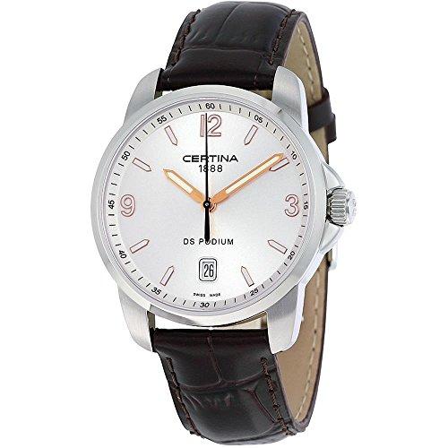 Certina DS Podium C001.410.16.037.01 - Reloj analógico de Cuarzo para Hombre, Correa de Cuero Color marrón