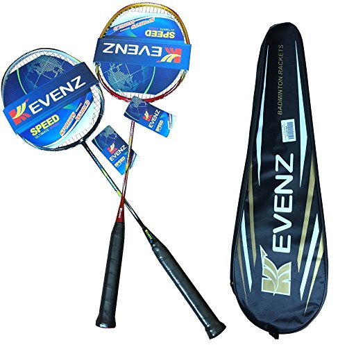 KEVENZ 2 Pack Graphite High-Grade Badminton Racquet, Professional Carbon Fiber Badminton Racket Included Black Red Color Rackets 2 Carrying Bag