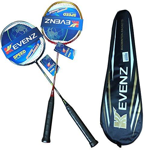 Kevenz 2 Pack Graphite HighGrade Badminton Racquet Professional Carbon Fiber Badminton Rackets 1 Black and 1 Red Racket 1 Carrying Bag