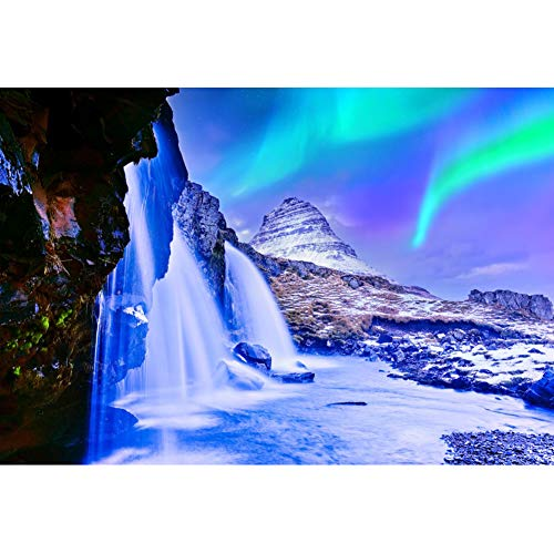 YongFoto 5x3ft Winter Polar Aurora Backdrop Waterfall Snow Mountain Background for Photography Christmas Party Supplies New Year Party Banner Kids Adult Photo Wallpaper