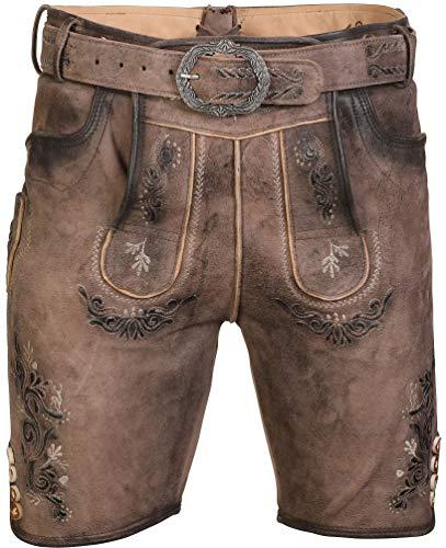 Marjo - Herren Lederhose, aus Leder, Anton inkl.Gürtel (835603-010006), Größe:48, Farbe:braun (1318)
