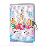 MHJY Unicorn Notebook Sequin Secret Diary with Lock,Reversible Mermaid Sequin Notebook Private Journal Magic Travel Journal Unicorn Notebook for Adults and Kids