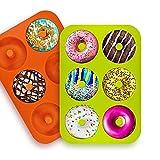 2/3 Paquetes Molde de Silicona para Donut,6 Cavidades Rosquillas Antiadherentes Bandeja,para Hacer Galletas,Magdalenas,Pasteles,Bagels (D)