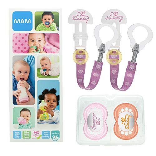 MAM Happy Family Soothing Set, ensemble tétine & attache-tétine dès 6 mois, cadeau de naissance 2 tétines Original en silicone et 2 attaches\