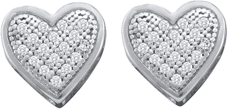 10kt White gold Womens Round Diamond Heart Screwback Earrings 1 10 Cttw