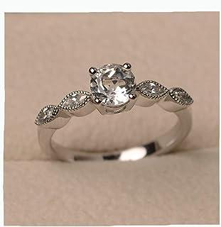 Topaz Round Diamond Ring Cubic Zirconia Topaz Ring White Gemstone Ring Shiny Dainty Wedding Bridal Band Ring Geometric Rin...