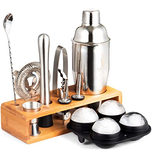 Royal Sips Premium Cocktail Shaker Set With Ice Ball Mold And Bamboo Stand - Bar Tools And Bar Accessories - Bar Set Shakers Bartending Drink Mixer - Drink Shaker Cocktail Set - Mixology Bartender Kit