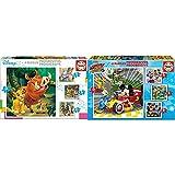 Educa Disney Animals Dumbo, Bambi, Lion King + Superpilotos Mickey and The Roadster Racers Puzzles Progresivos, 12+16+20+25 Piezas, Multicolor (17629)