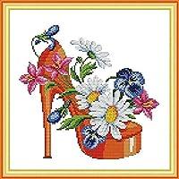クロスステッチキャンバス初心者刺繍キットファッションハイヒール40x50cmDIY刺繍を刻印するためのスターターキット大人と子供のための創造的な贈り物11CT