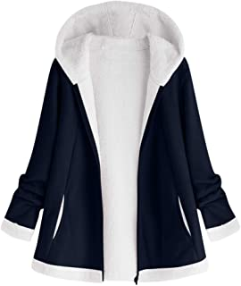 Plus Size Women's Hooded Plush Coat Fashion Button Tops Loose Overcoat Wool Jacket Winter Outwear DongDong