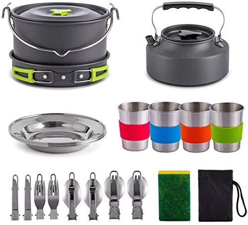 XMY Artículos para cocinar al Aire Libre Camping Conjunto para 2-4 Personas, 22 PC Cookware Que acampa Kit de lío, Compacto fogata Cocinar Ollas y sartenes
