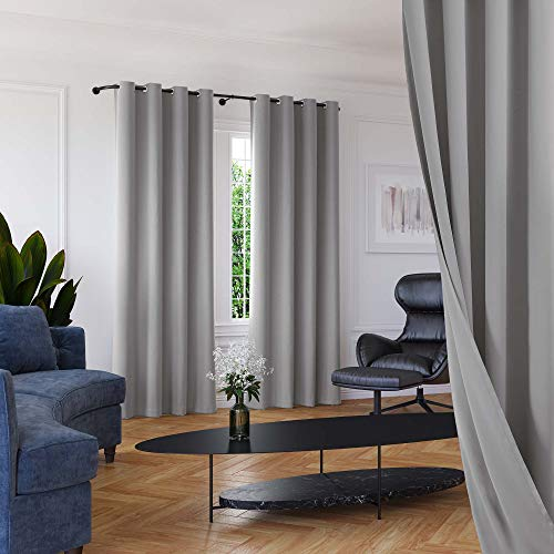 Roff Loff Living Room Curtains Silky Texture Light Gray Blackout Curtains Grommet Top Room Darkening Curtains for Living Room - Light Grey, 52 Inch Wide by 95 Inch Length, 2 Panels