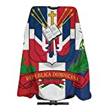 NiYoung Large Long Professional Barber Cape for Men Women, Waterproof Salon Cape Hairdresser Apron Dominican Republic Flag Haircuting Salon Cape Gown for Hairstylists Hair Color