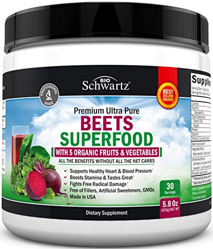 Beets Superfood Powder - Beet Root Powder with Vitamin C - with Organic, Antioxidant Rich Fruits & Vegetables - Boost Stamina - for Healthy Heart Support - Great Tasting & GMO Free - 30 Servings