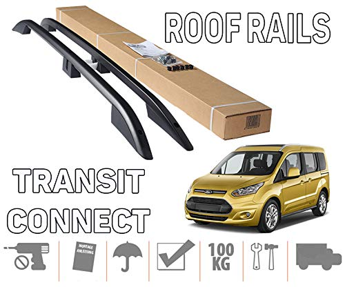 Crown Remanufacturing to Fit 2014+ Ford Transit Tourneo Connect LWB Roof Rails (Black)