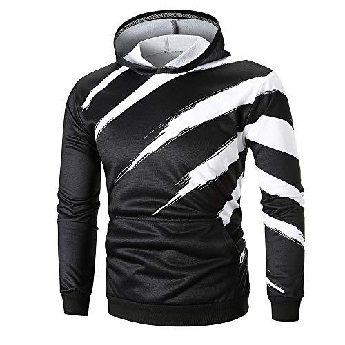 MRULIC Herren Langarm Gestreift Kapuzenpullover mit Kapuze Sweatshirt Outwear Hoodie Streetwear RH-035(Schwarz,EU-46/CN-L)
