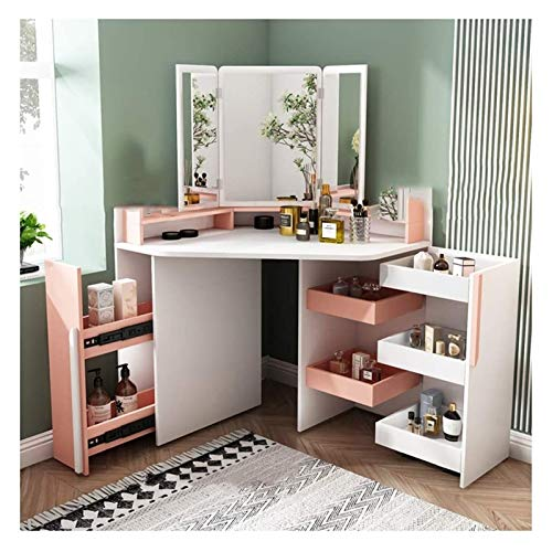 LXYYY Best Design Vanity Benches Vanity Desk Corner Dressing Table with Mirror Vanity Table Set with Stool 7 Drawer for Bedroom Set Great Gift for Girls Women (Color : Pink)