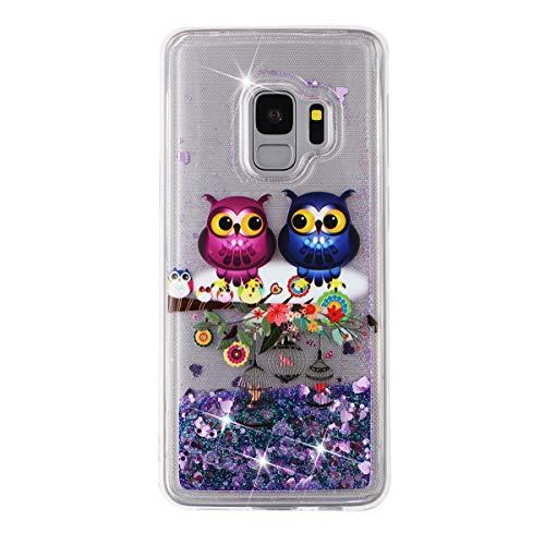 Funda brillante de 14 quilates, compatible con Galaxy S9 Plus, ultrafina, líquida, con purpurina, arenas movedizas, purpurina, gradiente de arena movedizada, silicona, suave TPU, funda para teléfono móvil