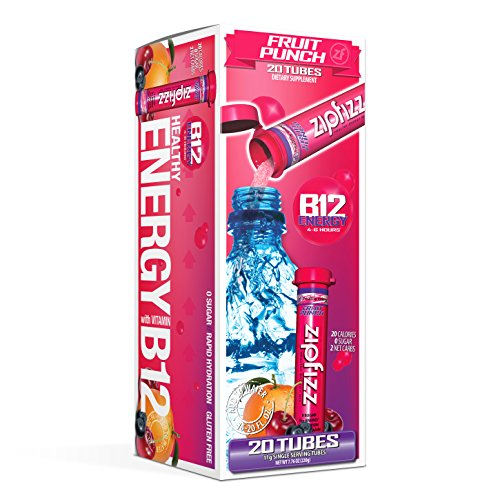 Zipfizz Healthy Energy Drink Mix, Hydration with B12 and Multi Vitamins, Fruit Punch, 20 Count