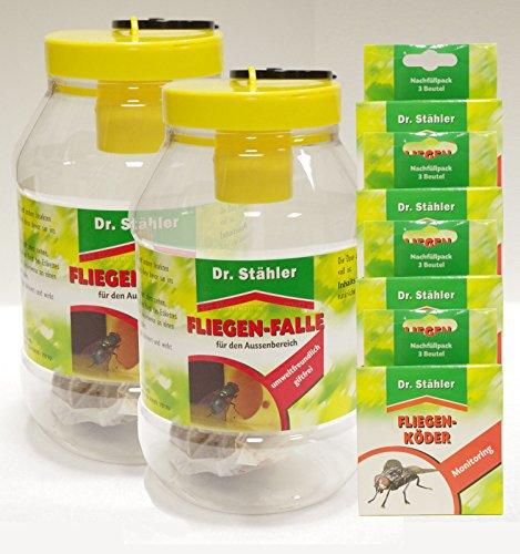 Dr. Stähler Fliegen-Falle - Set-Angebot 2 x Fliegenfalle 4 x Nachfüllpack